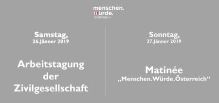 Arbeitstagung der Zivilgesellschaft & Matinée – Menschen.Würde.Österreich